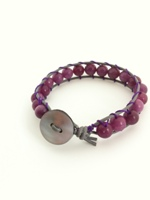 Leather Single Wrap Bracelet Purple Agate with Grey Leather