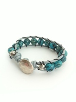 Leather Single Wrap Bracelet Blue Feldspar with light Teal Leather