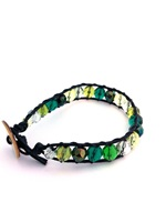 Leather Single Wrap Bracelet Green w Black Leather