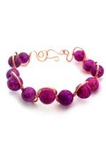 Pink Jasper Copper Wave Bracelet