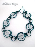 Crystal & Aqua Wire Round the World Bracelet
