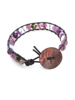 Leather Single Wrap Bracelet Purple Mix w Black Leather