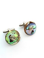 Paua Cufflinks - single swirl over (set h)