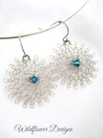 Silver Wire Flowers w swarovski crystal teal