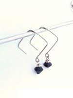 Squared Off Black Earrings