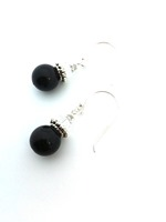 Swarovski Black Pearl w clear crystal bicone on sterling silver hooks
