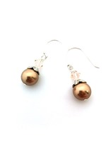 Swarovski Bronze Pearl w light peach crystal bicone on sterling silver hooks
