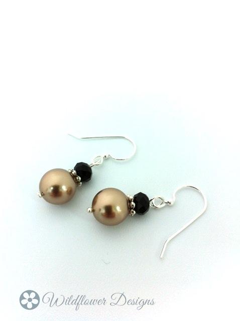 Swarovski Bronze Pearls w Jet Black crystal rondelles