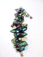 Embellished Paua Bracelet Purples/Greens