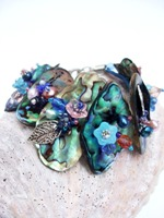 Embellished Paua Bracelet Blues and Pinks