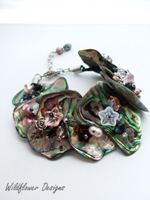 Embellished Paua Bracelet Greys and Pinks