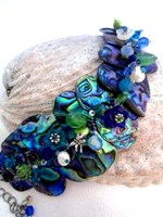 Embellished Paua Bracelet Blues and Greens