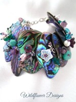 Embellished Paua Bracelet Purples and Greens