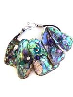 Embellished Paua Bracelet Purples and Teals