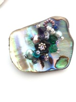 Embellished Paua Brooch - Purple and Green
