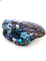 Embellished Paua Brooch - Purples and Aquas