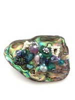 Embellished Paua Brooch - Greens and Lilacs