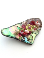 Embellished Paua Brooch - Cerise and Peridot