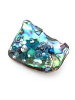 Embellished Paua Brooch - Teals