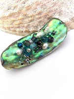 Embellished Paua Brooch - Teals and Greys