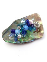 Embellished Paua Brooch - Blues
