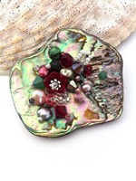Embellished Paua Brooch - Cranberry and Green