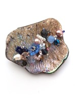 Embellished Paua Brooch - Mid Blues and Pale Copper