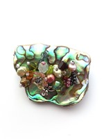 Embellished Paua Brooch - Olives and Peaches