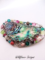Embellished Paua Brooch   Hot Pinks and Greens