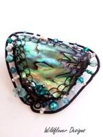 Embellished Paua Brooch Teals
