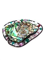 Embellished Paua Brooch Green and Purple