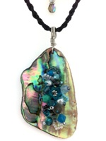 Embelllished Paua Pendant - Teals/Greys on black braided cotton cord