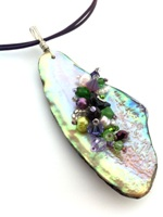 Embelllished Paua Pendant - Purples and grass green on violet purple leather cord