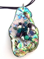 Embelllished Paua Pendant - Purples and Teals on violet purple leather cord