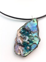 Embelllished Paua Pendant - Teals on thick black leather cord