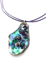 Embelllished Paua Pendant - Purples and Greens on Lavendar doubled leather cord