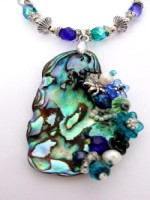 Embellished Paua Pendant Blues and Greens