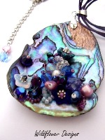 Embellished Paua Pendant Blue and Purple