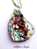 Embellished Paua Pendant Pale Pink and Green