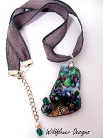 Embellished Paua Pendant Amethyst and Emerald