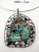 Embellished Paua Pendant  Purple and Green  w Wire