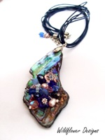 Embellished Paua Pendant  Blue and Peachy Pinks