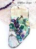 Embelllished Paua Pendant  Violet Purple and Emerald