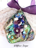 Embelllished Paua Pendant Purples and Mid Blues