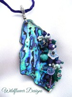 Embelllished Paua Pendant - Purples/Greens