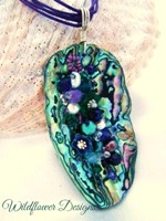 Embelllished Paua Pendant - Purples/Emeralds