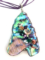 Embelllished Paua Pendant - Purples/Greens/Orangey Pinks on purple cotton multi cord