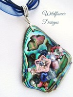 Embelllished Paua Pendant - Denim Blue and Pink on organza and cord