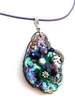 Embelllished Paua Pendant - Purple and Greens on purple leather cord