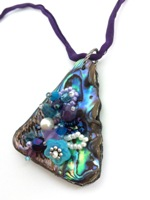 Embelllished Paua Pendant - Purple and Aqua on purple silk string